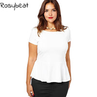 Women Blouses 5xl 6xl Plus Size Summer Tops 3xl 4xl Black Office Ladies Tunics White Ruffles Casual Slim Tops Big Women Clothing