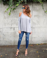 Women Causal T Shirt Cold Shoulder Long Sleeve Top Tees Sexy Loose Shirt Harajuku T-Shirt Female Plus Size Clothing LJ5840E