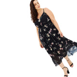 Women Dress Plus Size 6XL 7XL Spaghetti Strap Summer Floral Mid Calf V Neck Dress
