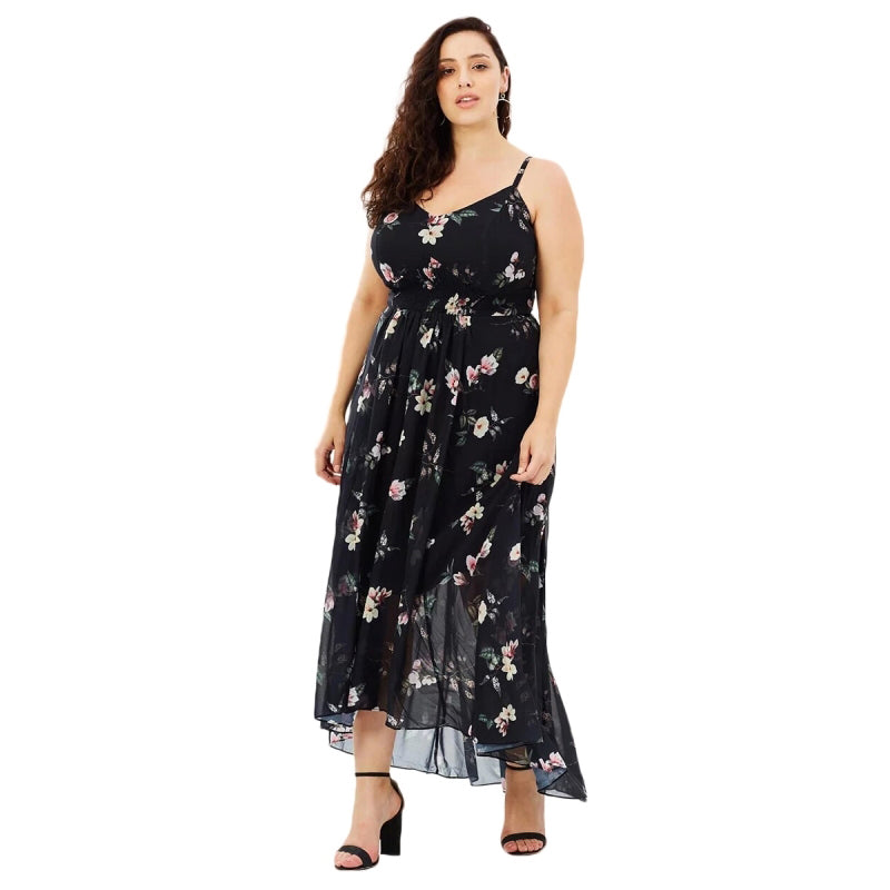 bca11010d39 Women Dress Plus Size 6XL 7XL Spaghetti Strap Summer Floral Mid Calf V –  Cyber Connections - Canada s  1 Women s Clothing Store