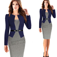 Elegant Business Work Formal Office Blazer Suits Full Sleeve Knee Length Pencil Dress