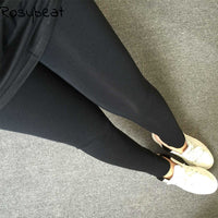 Women Leggings Plus Size Women Clothing Warm Autumn 2017 4xl 3xl Big Size High Waist Slim Knitted Legging Pants Legins Black Xxl