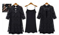 Women Plus Size 3XL XXXXL dress Sexy Spring Autumn Black Lace Faux Two Piece Vestidos Dress One-Piece Dress Large Size Clothes