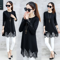 Women Plus Size 5xl Sweters 2018 Spring Autumn Fashion Long Sleeve Blouse Shirt Black Patchwork Lace Tops Knitted Pullover Mujer