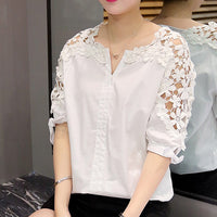 Women Plus Size Lace Blouses 2017 New Woman Lace Shirt Hollow Out Casual Short Sleeve Women Shirts Tops Clothing 5XL 823A 30