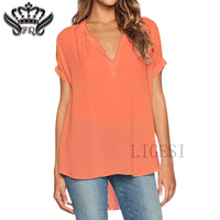 Women's Plus Size Blouses Short Sleeve Casual V-Neck Blouse Shirt Women Tops Summer 2017 Elegant Womens Clothes Chemisier Femme