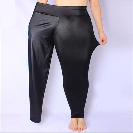 XL-5XL women leggings plus size black high waist leather leggings