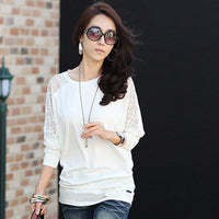bat sleeve t-shirt vintage 2018 womens tops fashion loose lace t shirt women tshirt tee shirts femme plus size cotton clothing