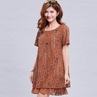 fashionable beading summer women dresses big sizes NEW 2018 plus size  clothing Knee-Length dress casual  loose dress 4xl  5xl