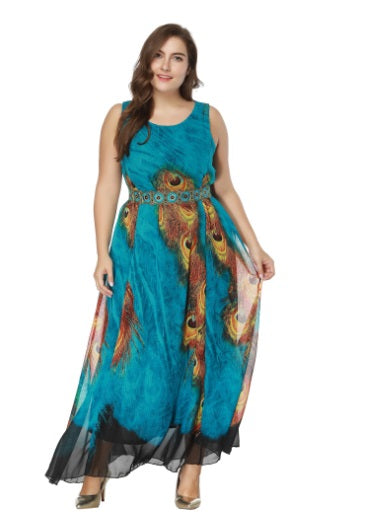 new arrival summer long dress plus size 7XL 8XL Chiffon Maxi Dress blue color printed beach dress sundress