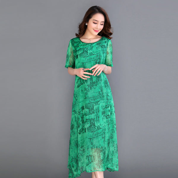 Women summer runway fashion o neck short sleeve printing a line mid calf silk dress