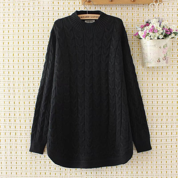 Criss-Cross winter women pullovers black Turtleneck Knitted casual ladies oversize sweater wool female 4XL pink