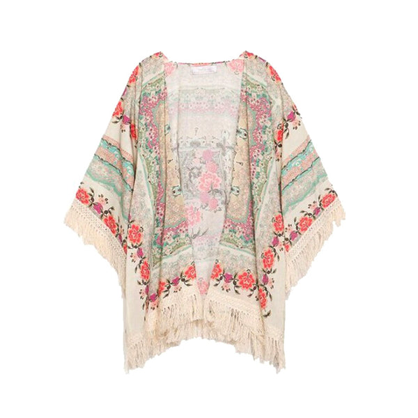 Women's Girls Floral Printing Long Loose Knitted Cardigan Shawl Cape Sweater Coat