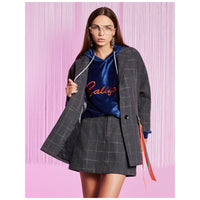 Cotton Plaid Grey Fashion Trench Jacket