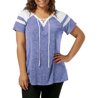 Fashion Plus Size Womens Short Sleeve Lace Up Raglan Sleeve Tops Blouse T-Shirt