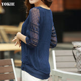 women blusas lace half  sleeve chiffon  blouses shirts women tops causal blusa chemise femme Plus size 4XL women clothes
