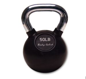 Body-Solid Premium Chrome Handle, Rubberized Kettle Bell Set (5-50 lb. singles)