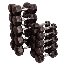 Body-Solid Rubber Coated Hex Dumbbell Set (5-50lbs)