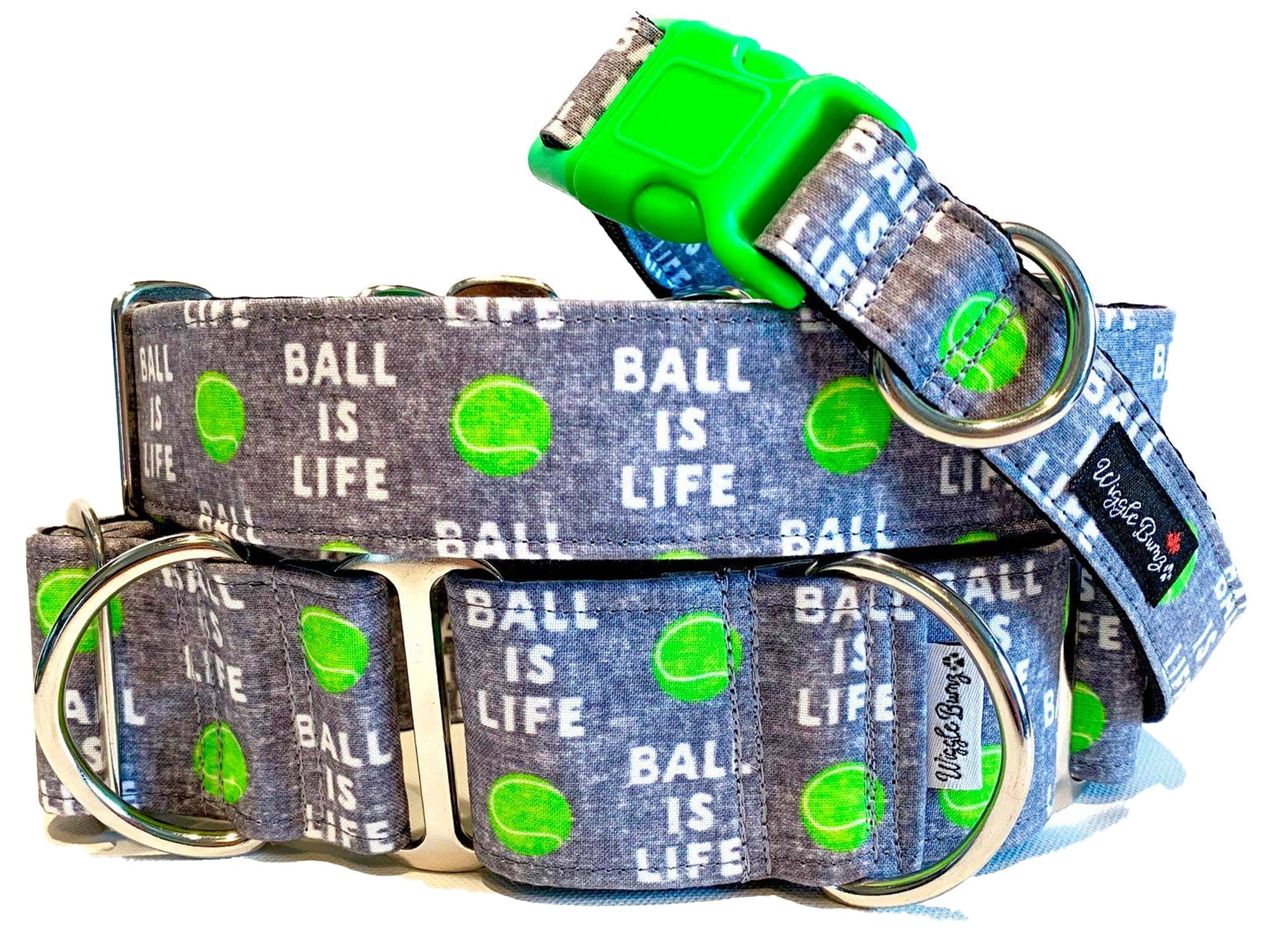 WiggleBumz Ball Is Life - Gray Dog Collar | BigPawShop.ca