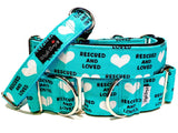 WiggleBumz Rescued And Loved - Teal Dog Collar | BigPawShop.ca