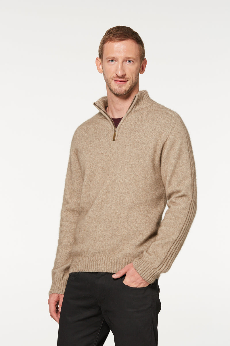 Merino Possum Short Zip Rib Sweater