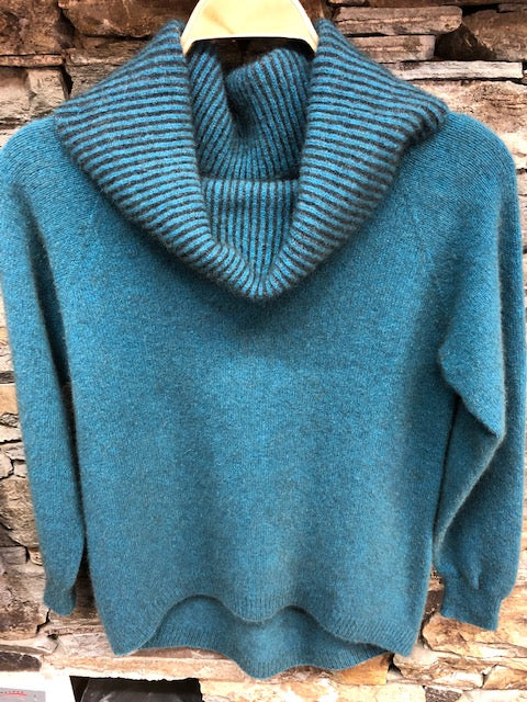 Merino Possum Curved Hem Cowl Neck Jumper