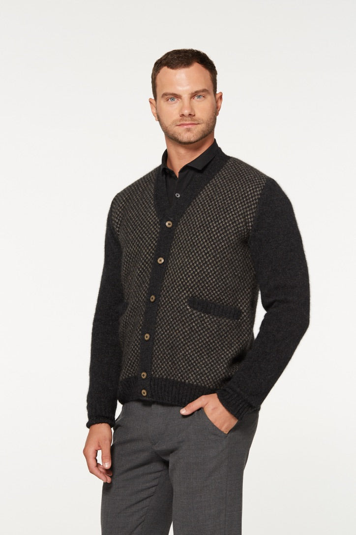Merino Possum Multi Tone Button Cardigan