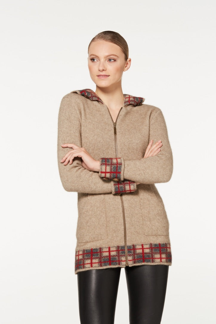 Merino Possum Tartan Zip Jacket with Hood