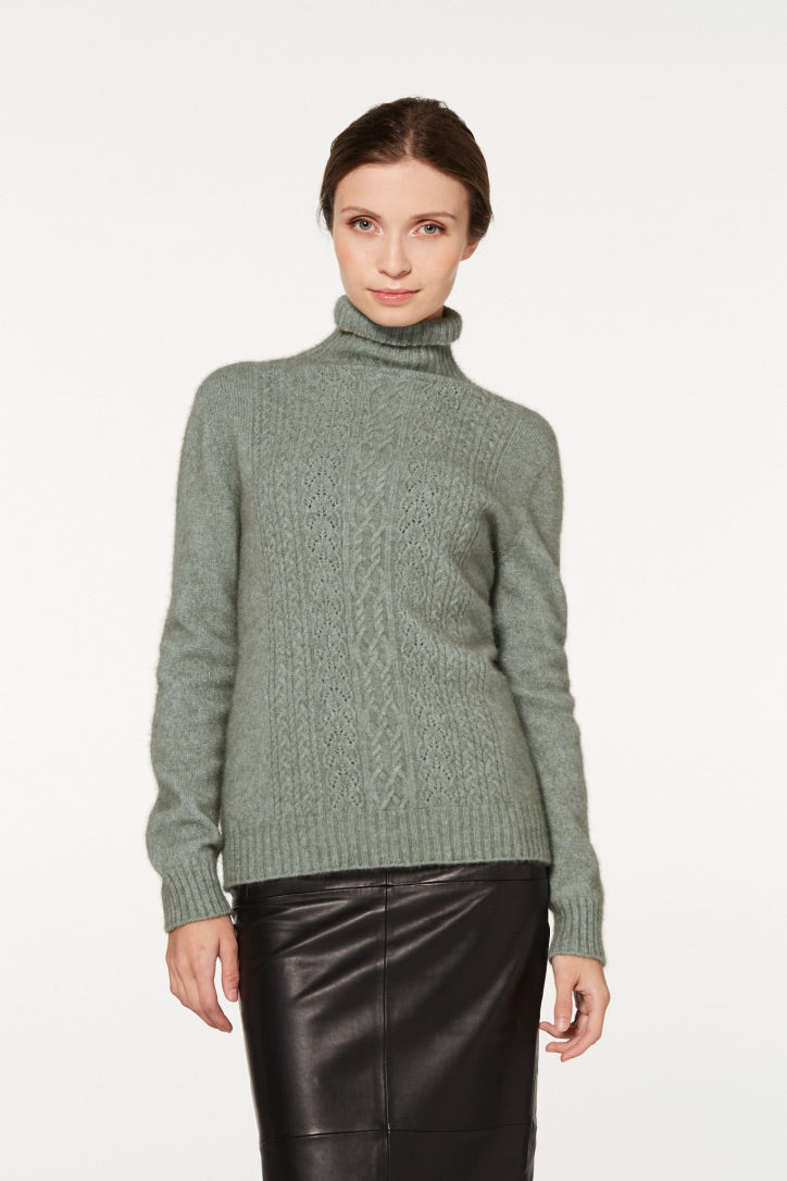 Merino Possum Polo neck Jersey with lace Detail