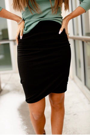 & Ave- Ruched Skirt- Black