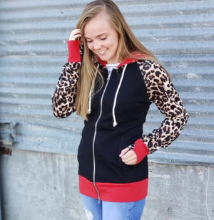 7 Deg-Black, Leopard & Red Full Zip