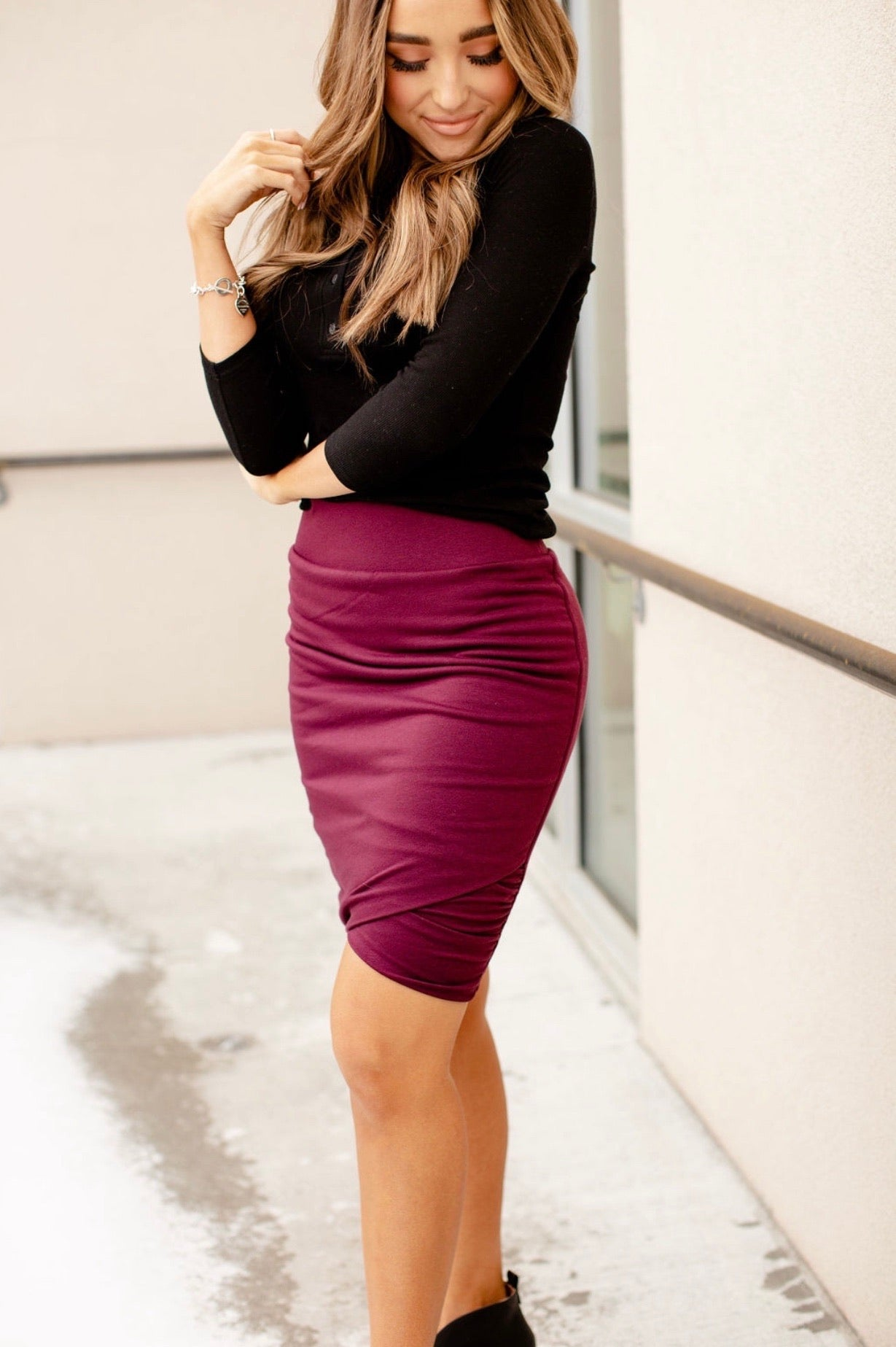 & Ave- Ruched Skirt- Wine