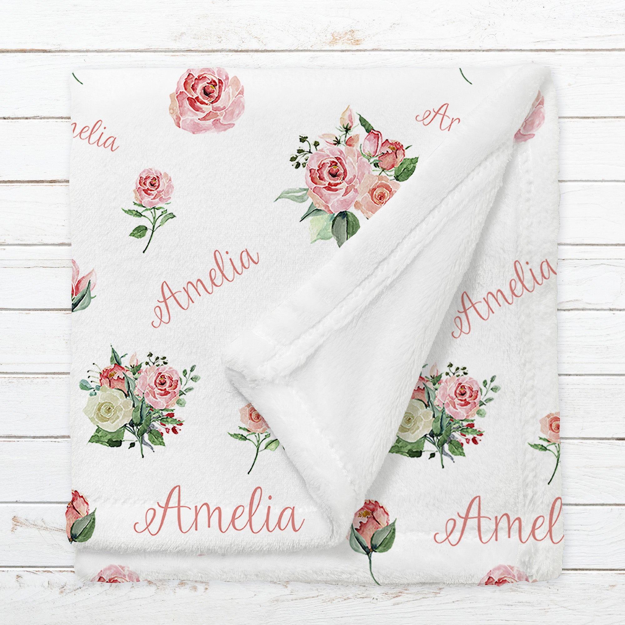 Personalized Flowers Name Blanket for Babies & Kids