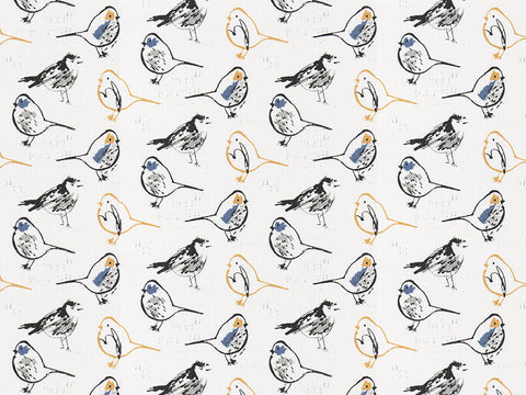 Bird Toile Brazilian Yellow Slub Linen Kids Curtains