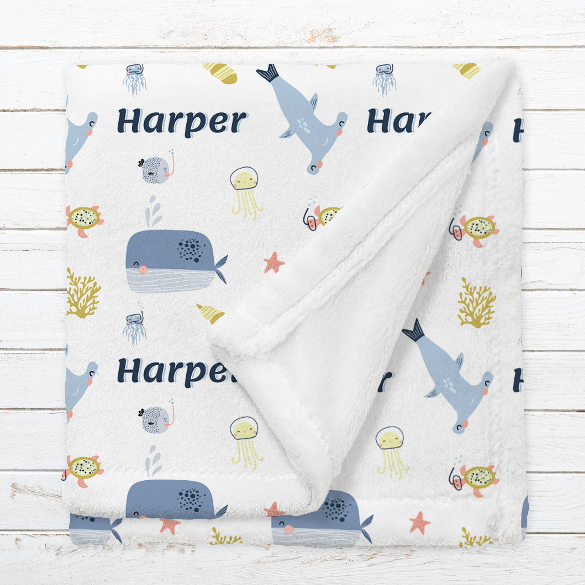 Personalized Sea Blanket for Babies, Toddlers and Kids - Let's Shell-ebrate