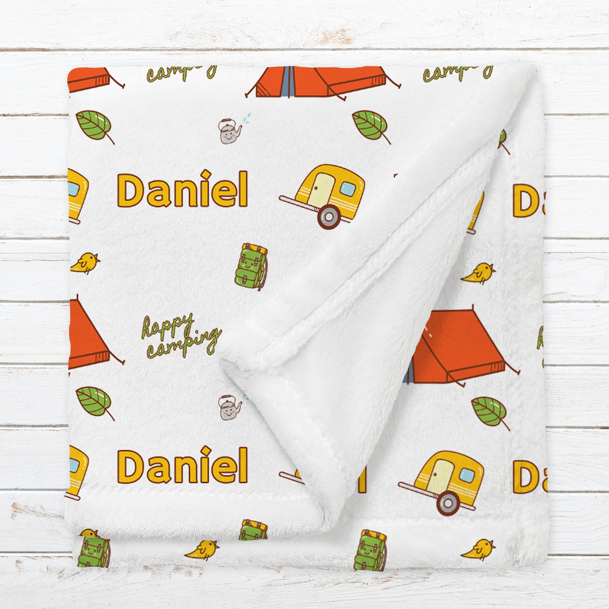 Personalized Camping Blanket for Babies, Toddlers and Kids - Adventurer's Cabin