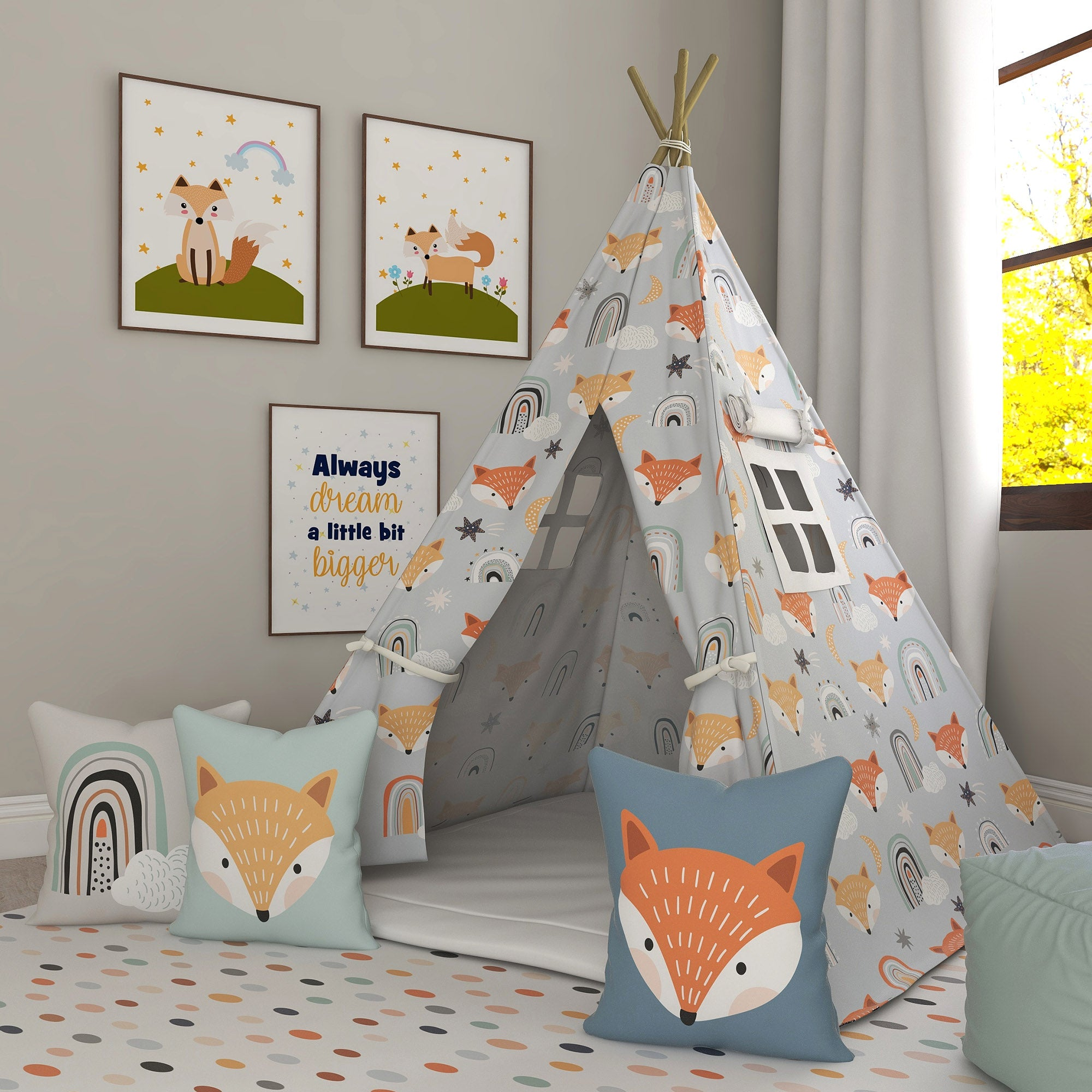 Kids Teepee, Fox Decor Themed Room - Gone In The Wild Collection