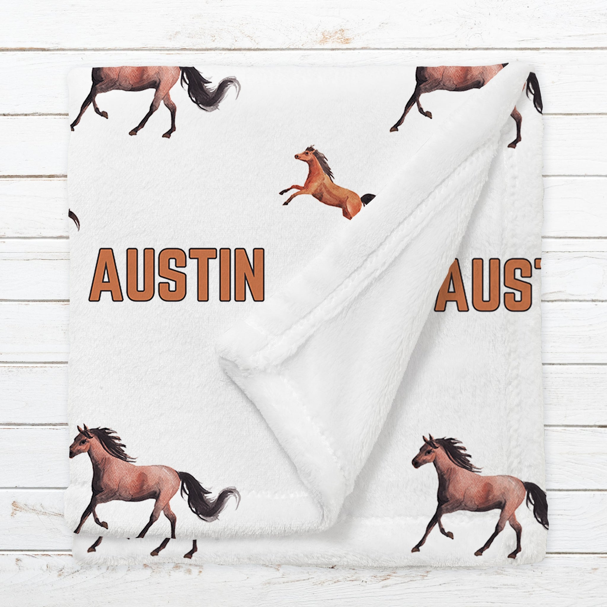 Personalized Horses Name Blanket for Babies & Kids