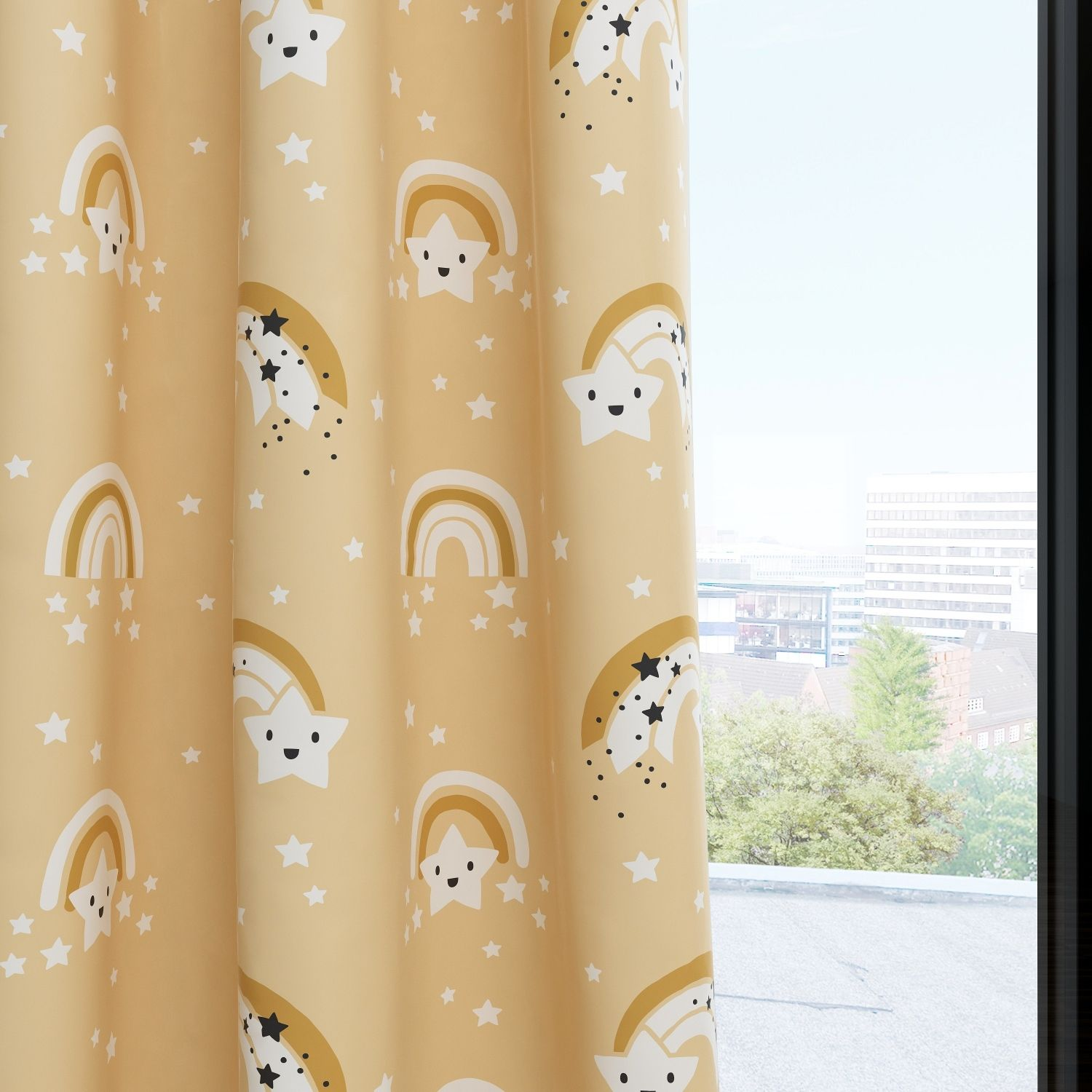 Rainbow Stars Kids & Nursery Blackout Curtains - Happy Stars