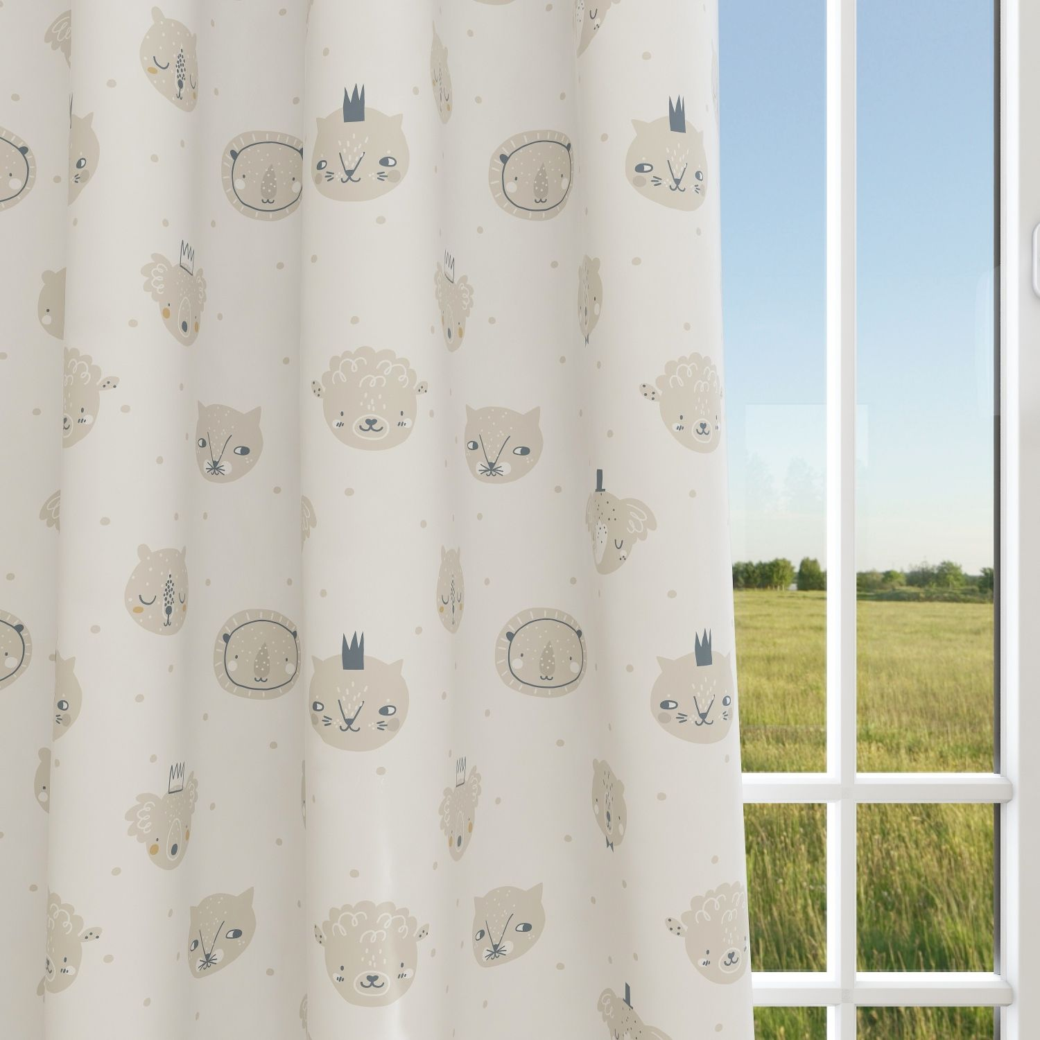 Animals Kids & Nursery Blackout Curtains - Heads and Dots