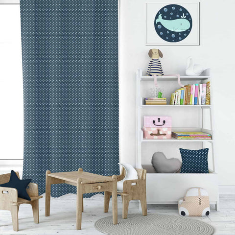 Mini Dot Blue Kids Curtains