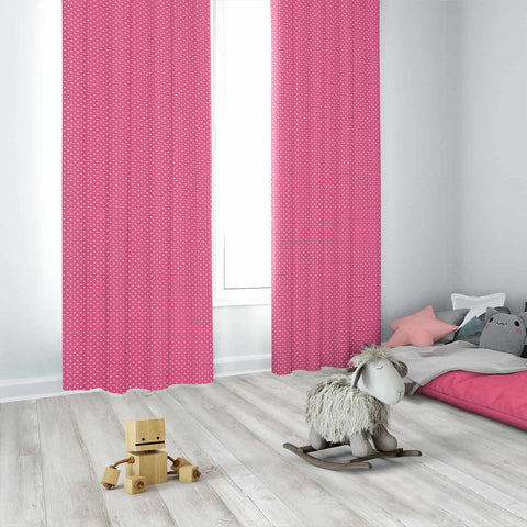 Mini Dot Candy Pink Kids Curtains