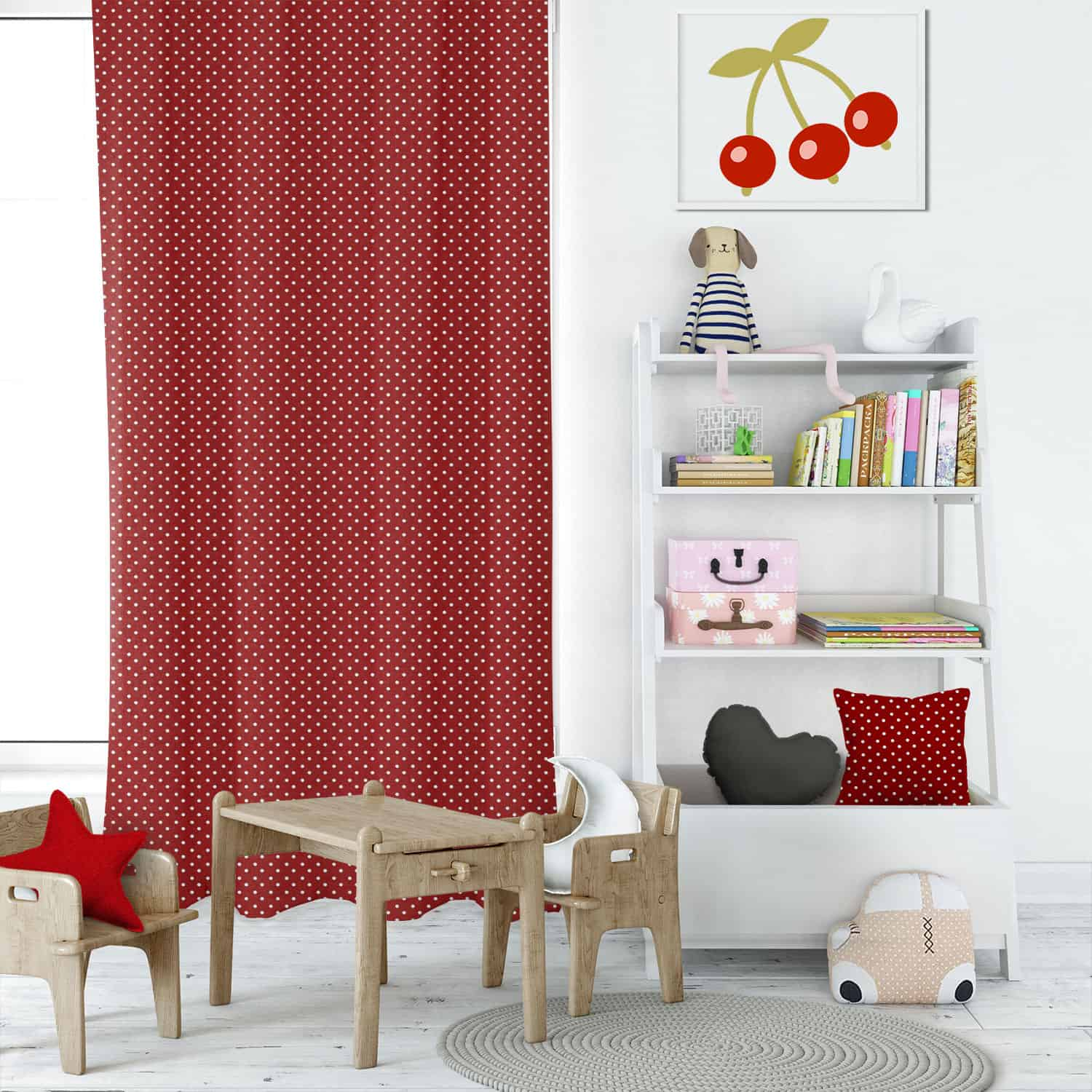 Mini Dot Lipstick Kids Curtains