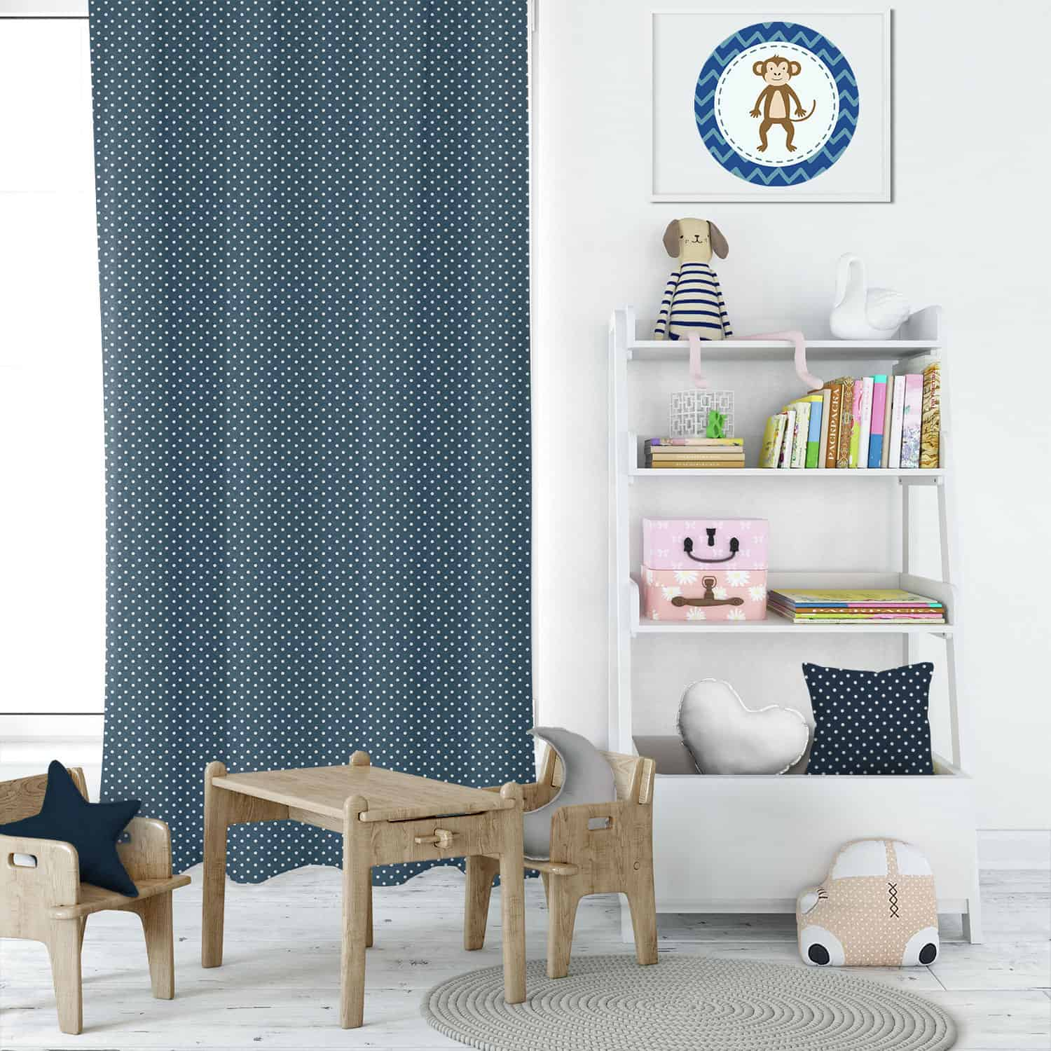 Mini Dot Navy Kids Curtains