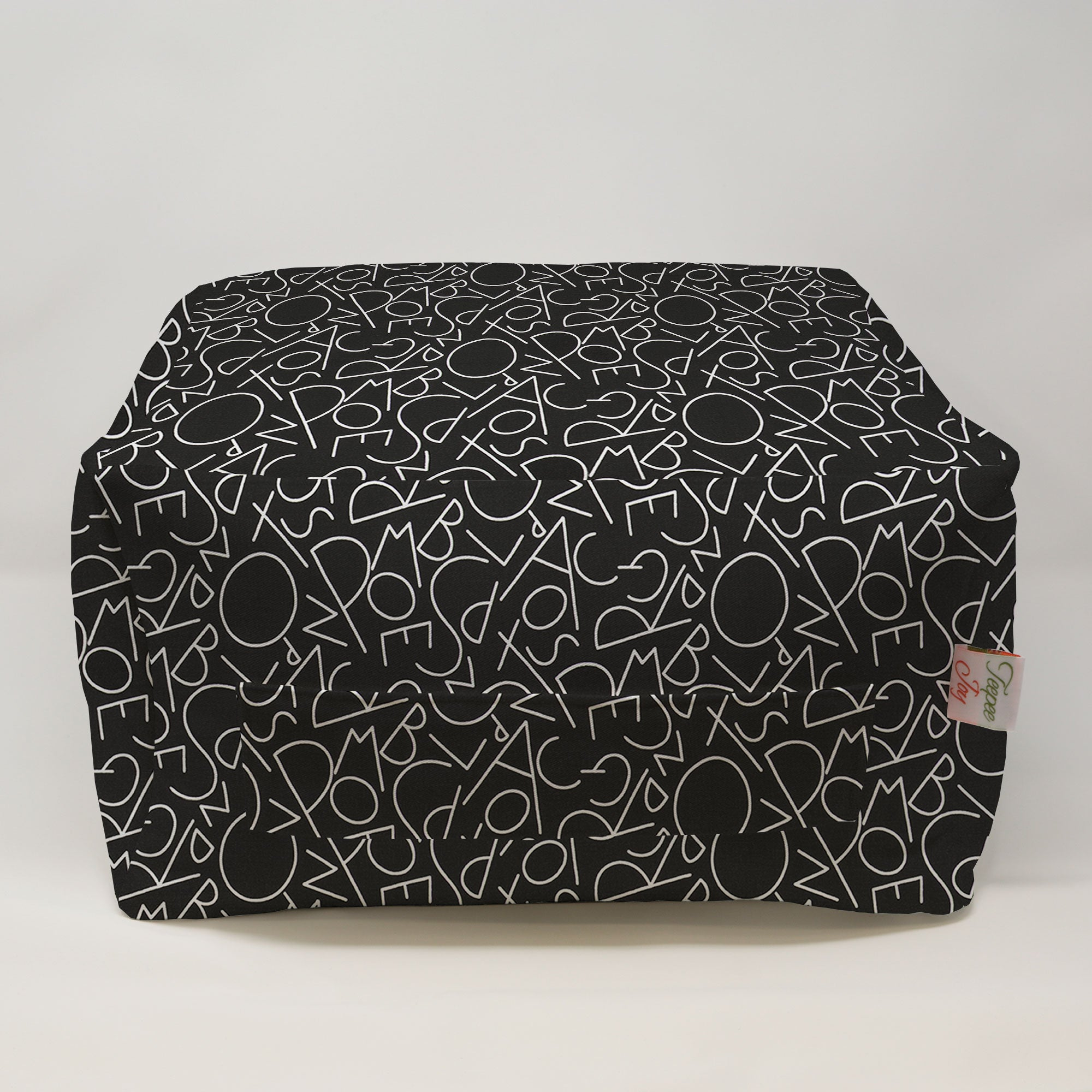 Kids Pouf - ABC Black White