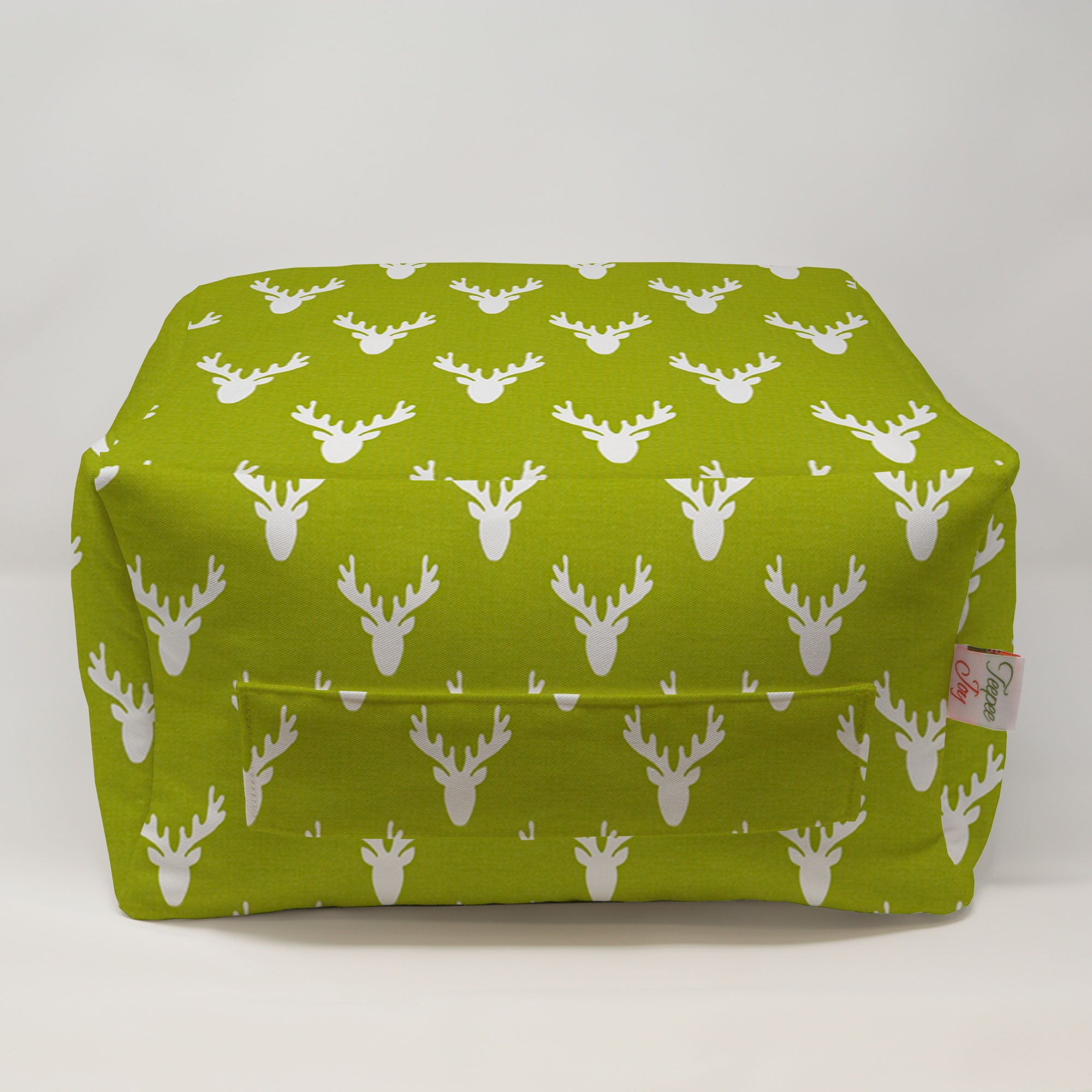 Kids Pouf - Antlers Chartreuse