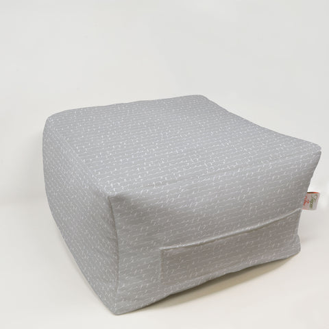 Kids Pouf - Chalk Script French Grey