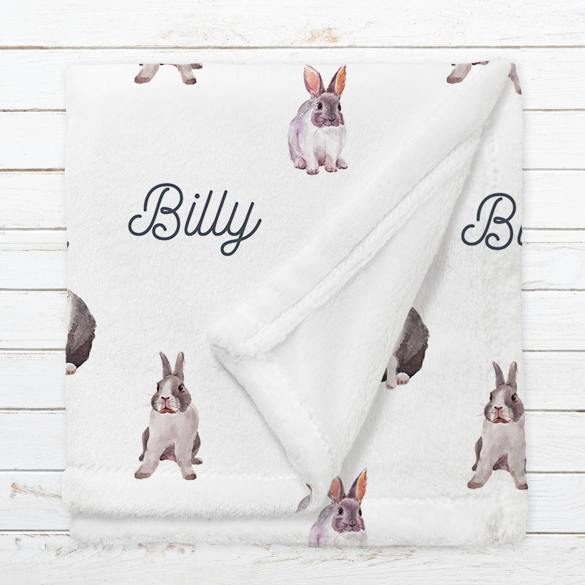 Personalized Rabbit Name Blanket for Babies & Kids