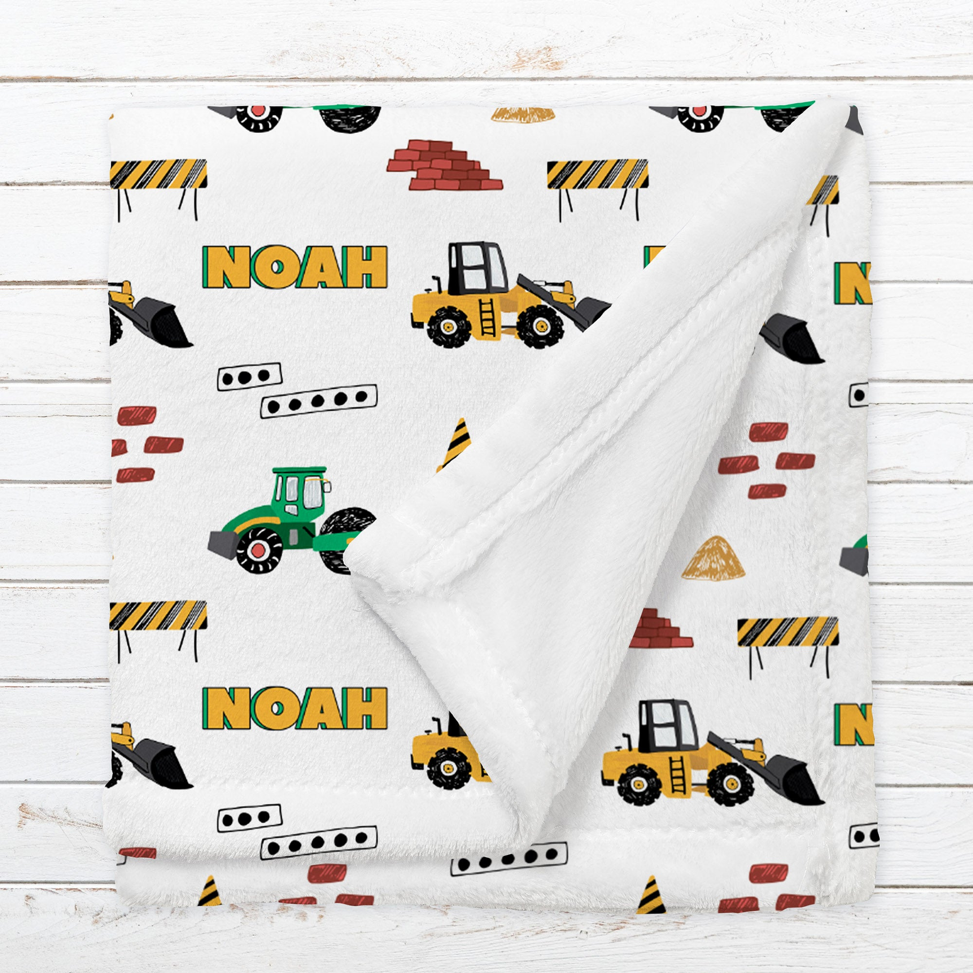 Personalized Construction Blanket for Babies, Toddlers and Kids - Building Blocks