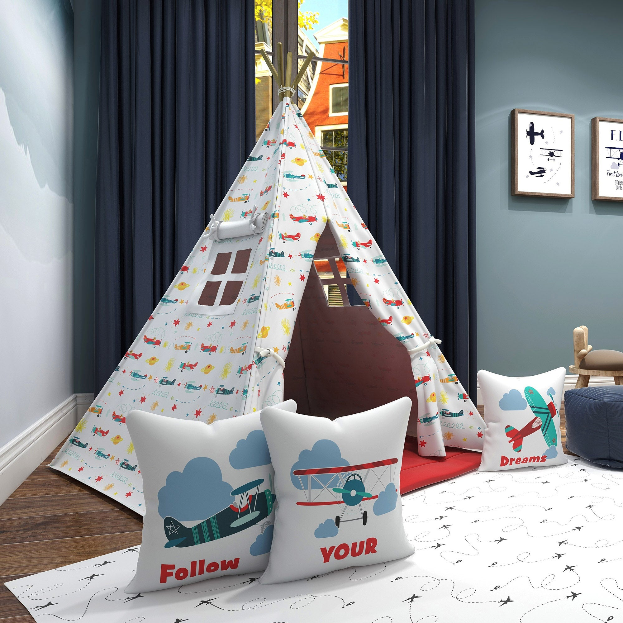 Kids Teepee, Airplane Decor Themed Room - Snuggly Landing Collection